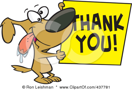 437781-Royalty-Free-RF-Clip-Art-Illustration-Of-A-Drooling-Cartoon-Grateful-Dog-Holding-A-Thank-You-Sign